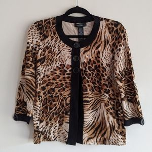 🆕 Cable & Gauge | animal print button up sweater